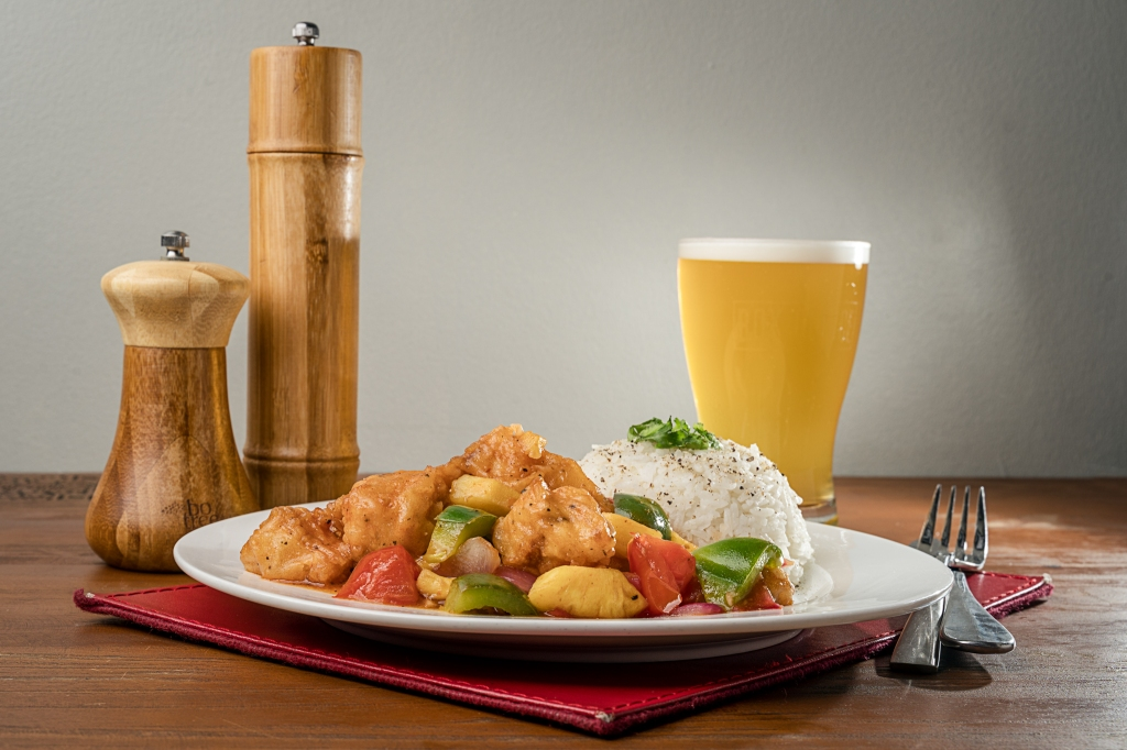 The Box Office Beer sweetn sour chicken