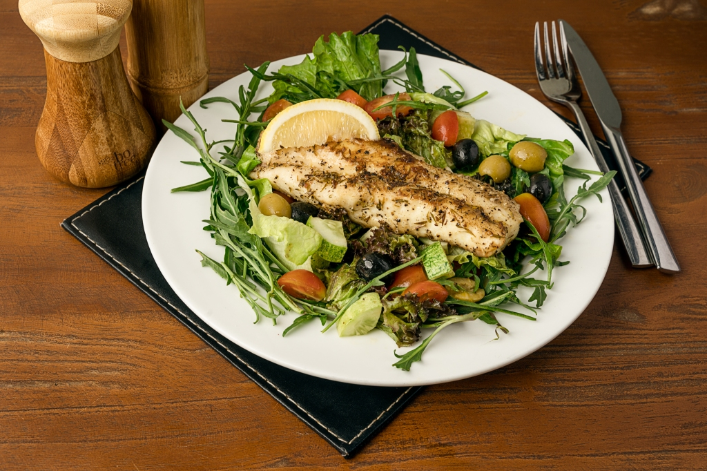The Box Office Beer Pan Fried fish with salad
